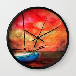 Blue Boat with Cormorants Wall Clock