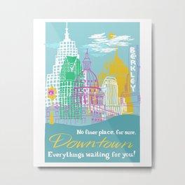 WPA Style Downtown (Detroit) Illustrated Print  Metal Print