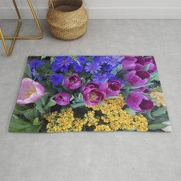 Floral Spectacular: Blue, Plum and Gold - Olbrich Botanical Gardens Spring Flower Show, Madison, WI Rug