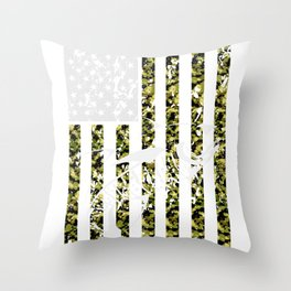 Fishing - Camouflage USA Flag Fisherman Throw Pillow