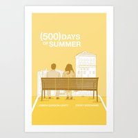 500 days of summer Art Prints featuring (500) Days of Summer by ambivalentpress