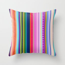 Mexican Serape Inspired Colorful Stripe Summer Fabric Throw Pillow