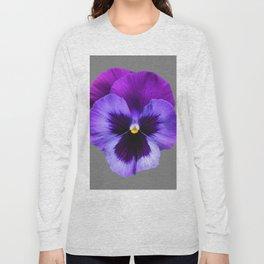 GREY MODERN ART SINGLE PURPLE PANSY Long Sleeve T-shirt