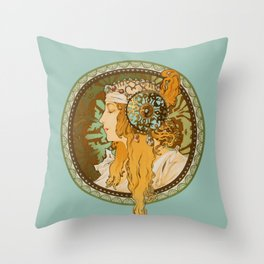 "Alphonse Mucha ""Byzantine Head: The Blonde"" edited Throw Pillow"