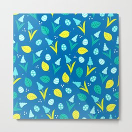 Easter Eggs and Blue Flower Pattern Metal Print