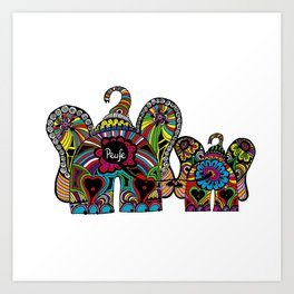 Chain Elephants Art Print