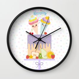 I love you Card design - Birthday, valentine's day, wedding, engagement. Sweet cake,  Kawaii Wall Clock