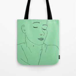 girl with eyes closed Tote Bag