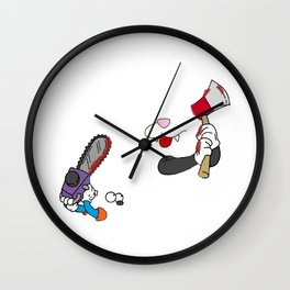 Cat and mouse fight Wall Clock