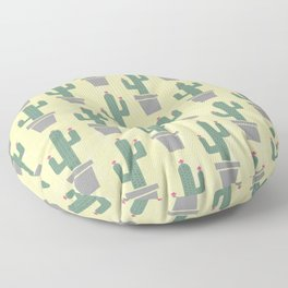 Solitary cactus on a yellow wall Floor Pillow