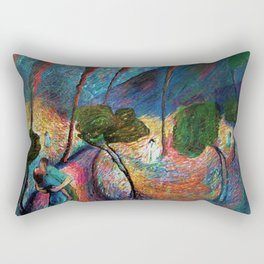 'The Love Vortex - Star-crossed Lovers' Variation 2 mountain landscape by Marianne Von Werefkin Rectangular Pillow