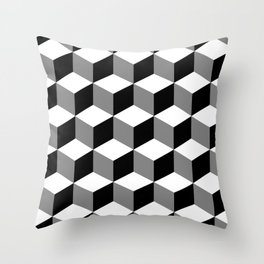 Cube Pattern Black White Grey Throw Pillow