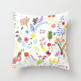 Double flower's flowers Throw Pillow