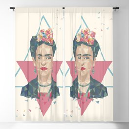 Pastel Frida - Geometric Portrait with Triangles Blackout Curtain