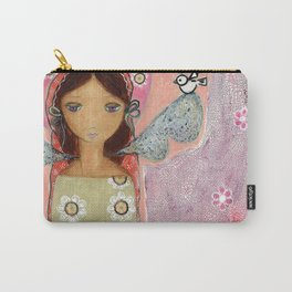 Angel with Little Bird Carry-All Pouch