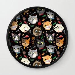 Neighborhood Cats in Black Wall Clock