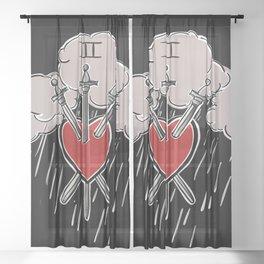 3 of Swords Black Sheer Curtain