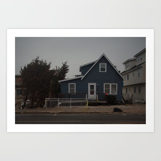 Blue Home, Orange Sticker, After Sandy Art Print