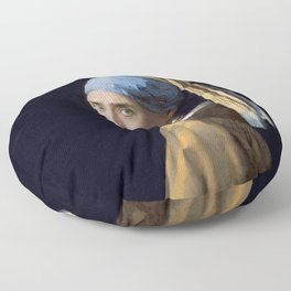 The Nic With the Pearl Earring (Nicholas Cage Face Swap) Floor Pillow