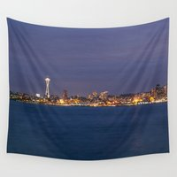 seattle Wall Tapestries featuring Seattle by Ren Davis
