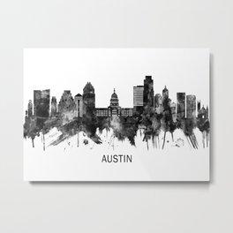 Austin Texas Skyline BW Metal Print
