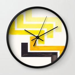 Yellow Ancient Aztec Pattern Mid-century Modern Simple Geometric Pattern Watercolor Minimalist Art S Wall Clock