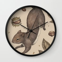 The Squirrel and Chestnuts Wall Clock
