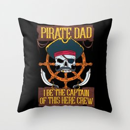 PIRATES: Pirate Dad Freebooter Jolly Skull Family Father's day Gift Throw Pillow