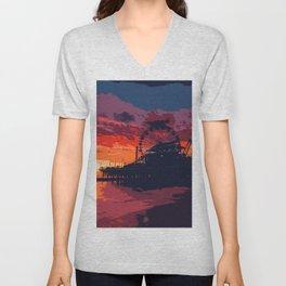 Sunset in Santa Monica, California Unisex V-Neck