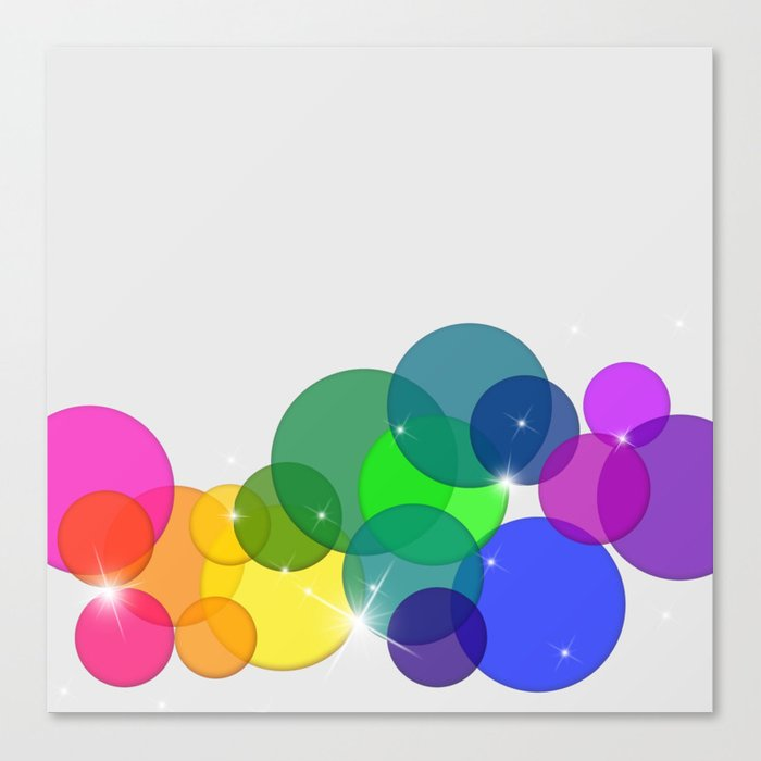 Translucent Rainbow Colored Circles with Sparkles - Multi Colored Canvas Print
