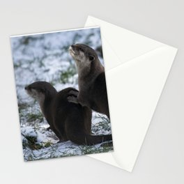 Otters In The Snow Stationery Cards