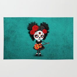 Day of the Dead Girl Playing Macedonian Flag Guitar Rug