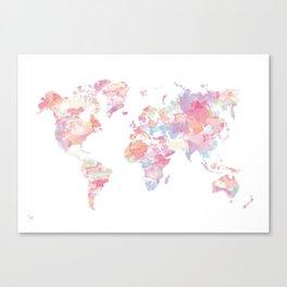 Watercolour World Map (pink) Canvas Print