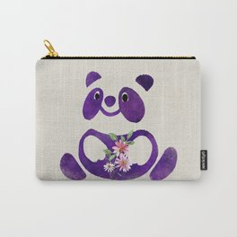 Cute  Purple Panda Bear with flowers Carry-All Pouch