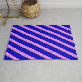 Blue, Violet, Slate Blue, and Black Colored Lines Pattern Rug