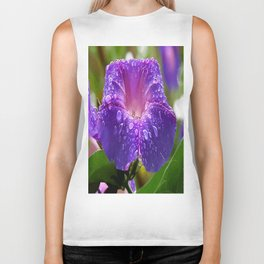Morning Glory Petals and Dew Drops Vector Biker Tank