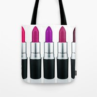lipstick Tote Bags featuring Lipstick by I Love Decor