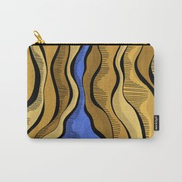 Golden Waves with Interrupting Blue Carry-All Pouch