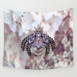 Ornate Purple Beaded Butterfly Wall Tapestry