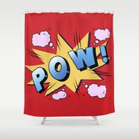superheroes Shower Curtains featuring superheroes by mark ashkenazi