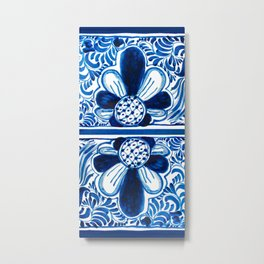 Blue & White Mexican Talavera Metal Print
