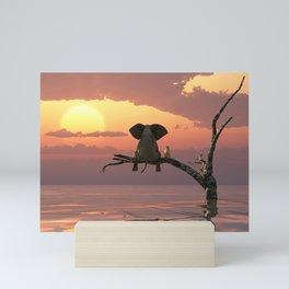 elephant and dog sit on a tree during a flood(2) Mini Art Print