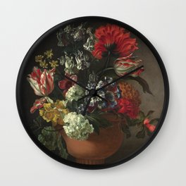 Marie Blancour - A Bowl Of Flowers. Wall Clock