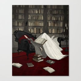 Asleep in the Library Canvas Print