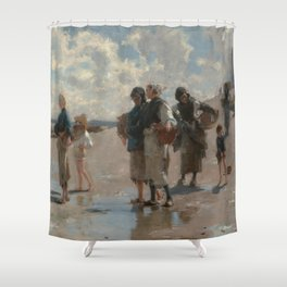 Fishing for Oysters at Cancale - John Sargent Shower Curtain