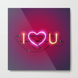 I Love You with Pink Heart Neon Sign Metal Print