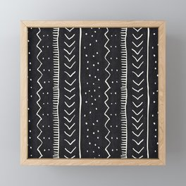 Moroccan Stripe in Black and White Framed Mini Art Print