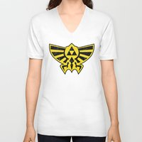 hyrule V-neck T-shirts featuring Hyrule Hero by Head Glitch