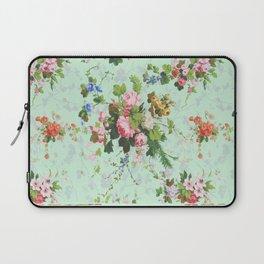 Antique romantic vintage 1800s Victorian floral shabby rose flowers pattern aqua mint hipster print Laptop Sleeve