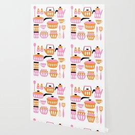 My Midcentury Modern Kitchen In Pink And Tangerine Wallpaper